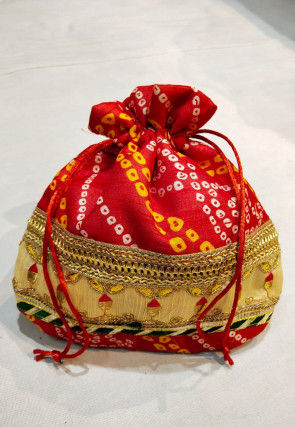 Bandhej Art Silk Potli Bag in Red