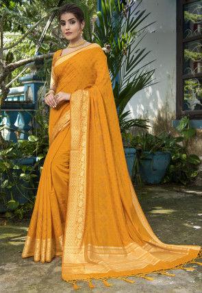 Bandhej Art Silk Saree in Mustard
