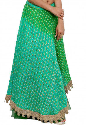 Bandhej Art Silk Skirt in Shaded Green