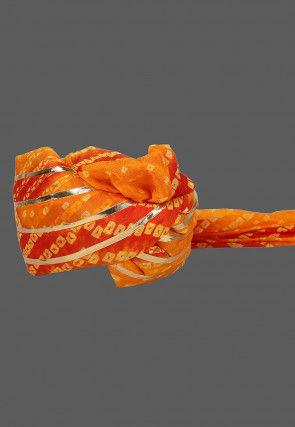 Bandhej Art Silk Kids Turban in Orange