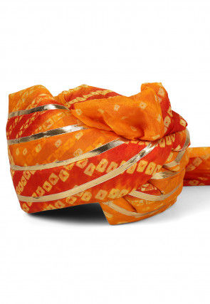 Bandhej Art Silk Turban in Shaded Orange