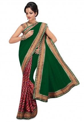 Bandhej Bhagalpuri Silk Saree in Green and Maroon