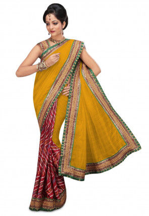 Bandhej Bhagalpuri Silk Saree in Mustard and Maroon