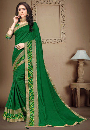 Bandhej Border Art Silk Saree in Dark Green