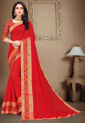 Bandhej Border Art Silk Saree in Red