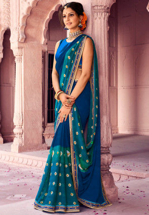 Bandhej Chiffon Saree in Blue