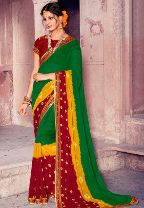 Bandhej Chiffon Saree in Green and Red