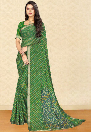 Bandhej Chiffon Saree in Green