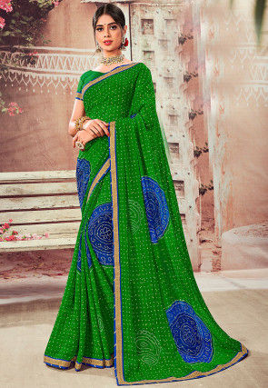 Bandhej Printed Chiffon Saree in Green