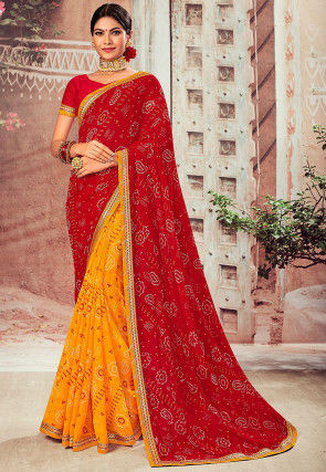Bandhej Printed Chiffon Saree in Red and Yellow