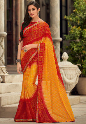 Bandhej Chiffon Saree in Yellow and Red