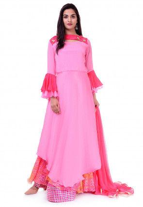 Bandhej Chinon Crepe Lehenga in Pink