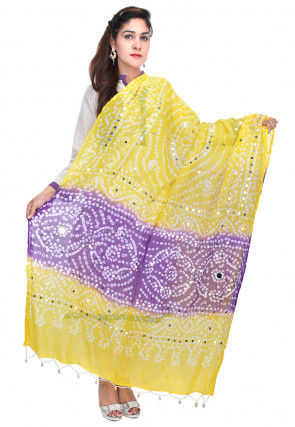 Bandhej Cotton Dupatta in Yellow and Purple
