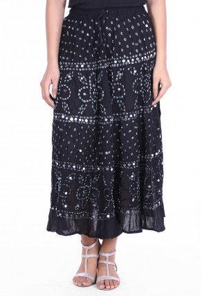 Bandhej Cotton Skirt in Black