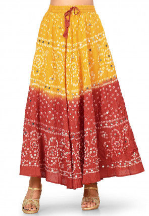 Bandhej Cotton Skirts in Mustard and Red