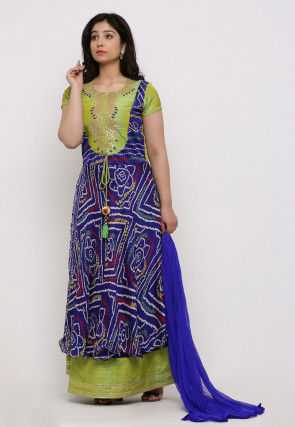 Bandhej Crepe Abaya Style Suit in Royal Blue and Olive Green