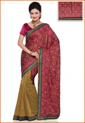 Bandhej Crepe and Bhagalpuri Silk Saree in Magenta and Beige