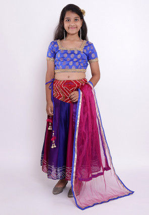 Bandhej Crepe Lehenga in Multicolor and Royal Blue