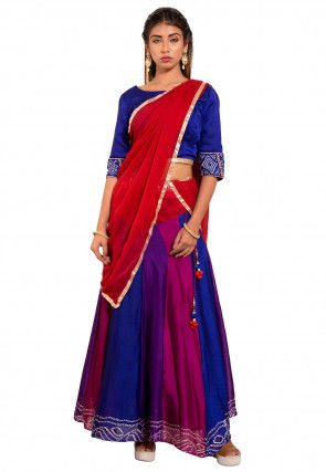 Bandhej Crepe Lehenga in Multicolor