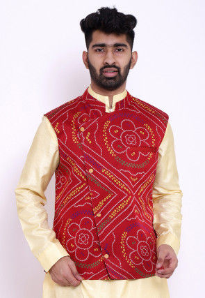 Bandhej Crepe Nehru Jacket in Red