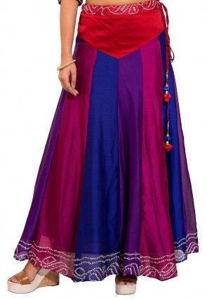 Bandhej Crepe Skirt in Multicolor