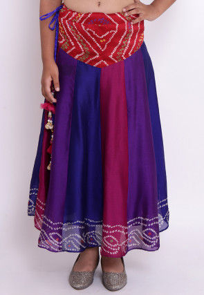 Bandhej Crepe Skirt in Multicolor