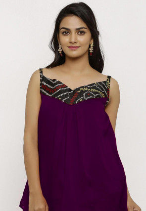 Bandhej Crepe Top in Purple
