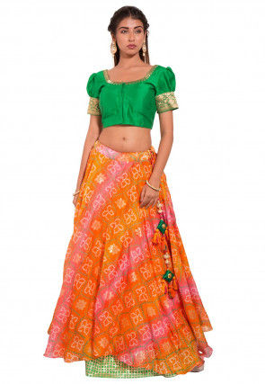 Bandhej Dupion Silk Crop Top Set in Green and Orange