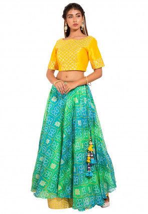 Bandhej Dupion Silk Crop Top Set in Yellow and Green
