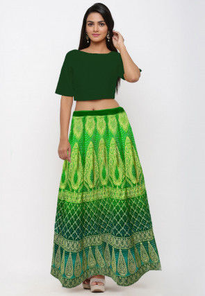 Bandhej Gadwal Silk Lehenga in Shaded Green