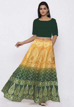 Bandhej Gadwal Silk Lehenga in Shaded Yellow and Teal Green