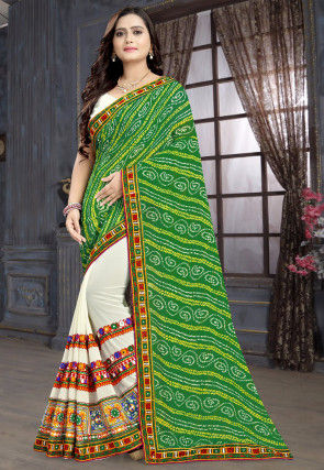 Bandhej Georgette Half N Half Saree in Green and Off White