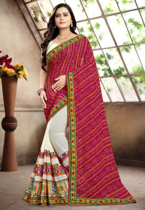Bandhej Georgette Half N Half Saree in Magenta and Off White