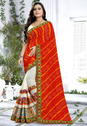 Bandhej Georgette Half N Half Saree in Orange and Off White