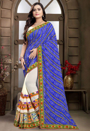 Bandhej Georgette Half N Half Saree in Royal Blue and Off White