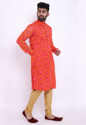 Bandhej Georgette Kurta Set in Red