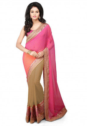 Bandhej Georgette Saree in Pink and Beige