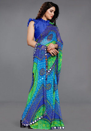 Bandhej Georgette Saree in Blue and Green