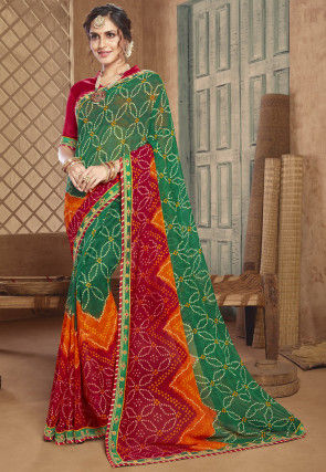 Bandhej Georgette Saree in Green and Red
