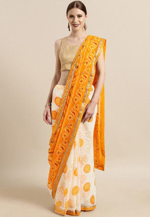 Bandhej Georgette Saree in Mustard and Off White