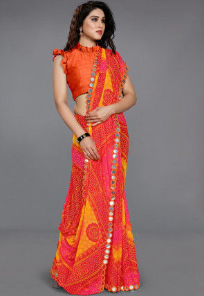 Bandhej Georgette Saree in Mustard and Red