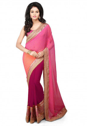 Bandhej Georgette Saree in Pink and Fuchsia
