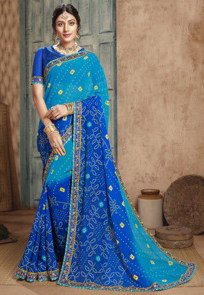 Bandhej Georgette Saree in Shaded Blue