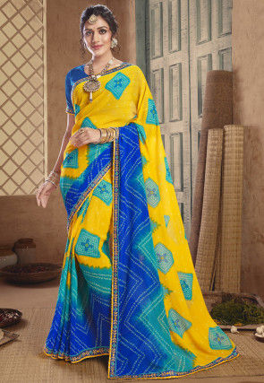 Bandhej Georgette Saree in Yellow and Blue