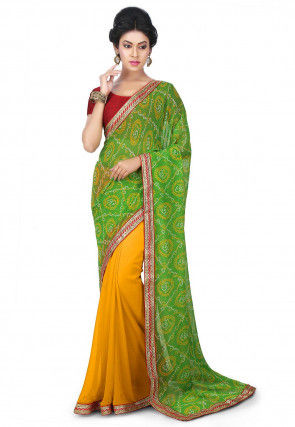 Bandhej Georgette Saree in Yellow and Green