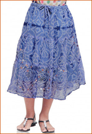Bandhej Georgette Skirt in Light Blue