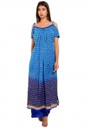 Bandhej Ghatchola Silk Kurta with Palazzo in Blue