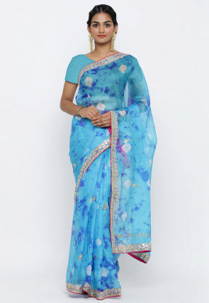 Bandhej Gota Patti Kota Silk Saree in Light Blue