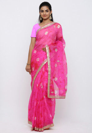 Bandhej Gota Patti Kota Silk Saree in Pink