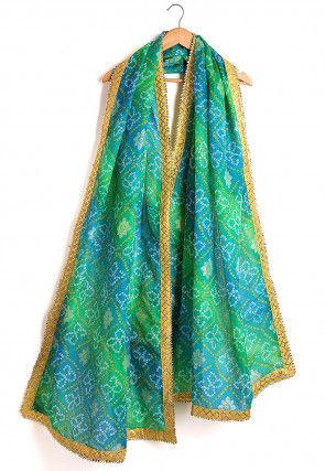 Bandhej Kota Silk Dupatta in Blue and Green